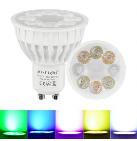 Dimmable GU10 4W Mi Light 2.4G Wireless RGBCCT LED Lampe de projecteur ampoule AC86-265V