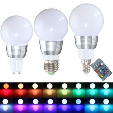 E27 E14 GU10 3W Regulable Control remoto RGB Cambio de color LED Lámpara Bombilla 85-265V