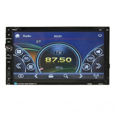 F6080 6.95 inch Car GPS Navigation Bluetooth Stereo Radio CD DVD Player Double 2 DIN Touchscreen