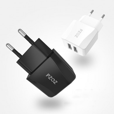 PZOZ 2.1A Dual USB Ports Charger Fast Charging Travel EU Plug Adapter Charger For iPhone X XR XS Max Xiaomi MI8 MI9 HUAWEI P30 S