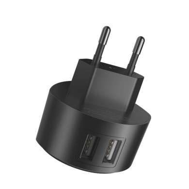 HOCO C67A Portable EU Dual USB Charger Travel Adapter for Samsung Xiaomi Huawei