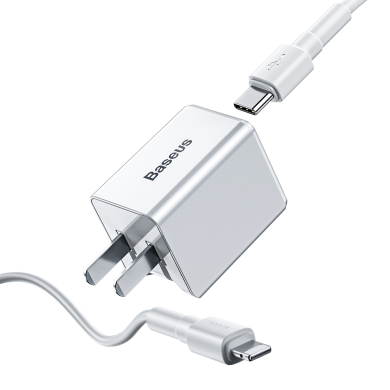 Baseus 18W PD Qucik Caricabatterie USB + PD 18W C-Ldata Cavo per MacBook Pro / Air iPhone / iPad Pro