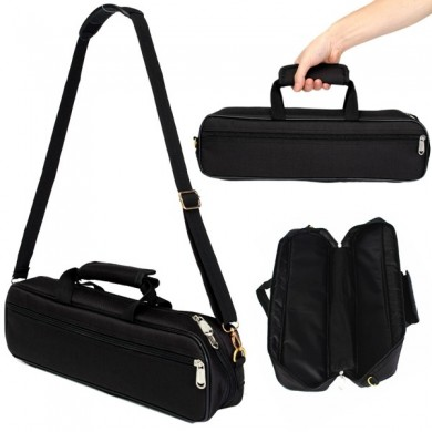 Flute Carry Bag Cover with Side Pocket Shoulder Strap Black