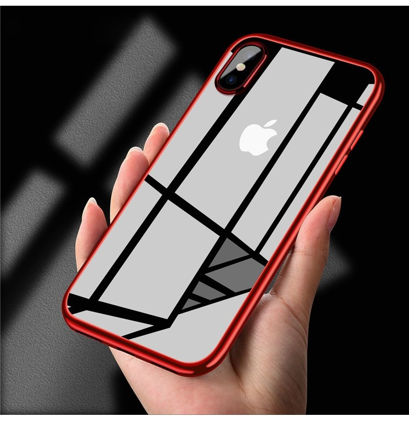 Bakeey Clear Plating Soft TPU Protective Case For iPhone X/XR/XS/XS Max (Color: Red, Apple Model: iPhone XR) фото