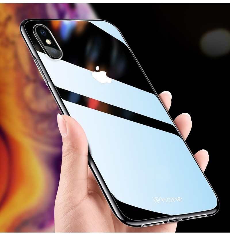 Bakeey Clear Tempered Glass Protective Case For iPhone XR/XS/XS Max/X/8/8 Plus/7/7 Plus (Color: Transparent Black, Apple Model: iPhone XR) фото