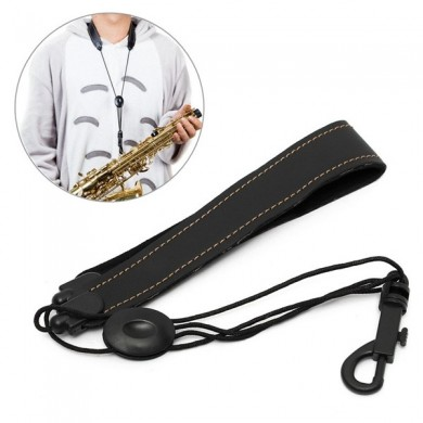 Adjustable Alto Soprano Tenor Saxophone Neck Strap Leather Black