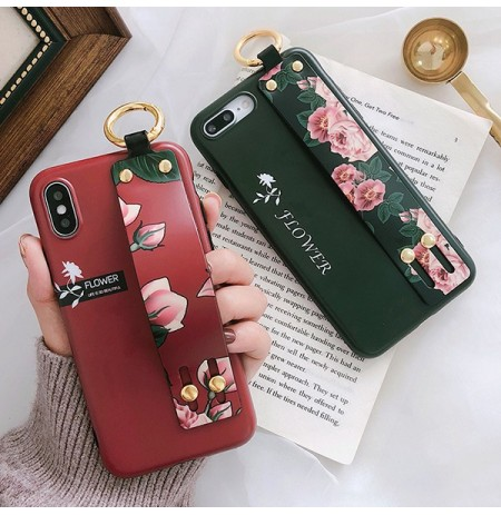 Fashion Flower Modello Strap Ring Grip Stand Custodia protettiva per iPhone XR / XS/XS Max / X / 8/8 Plus/7/7 Plus / 6s / 6s Plu