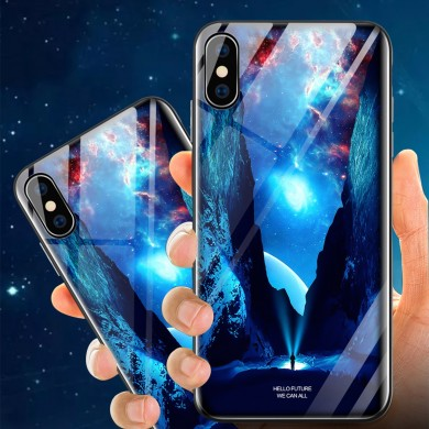 Bakeey Custodia protettiva in vetro temperato illuminante per iPhone X/XS / XR / XS Max / 8 Plus/7 Plus