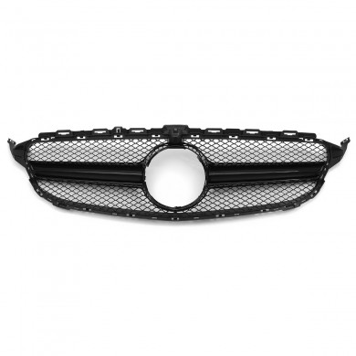 Black AMG C63 Style Grill Grille For Mercedes Benz W205 C250 C350 15-18 With Camera