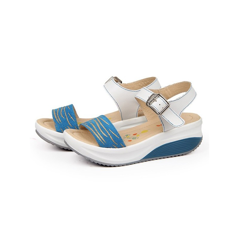 Women Leather Beach Wedge Sandals (Color: White, Size(US): 9) фото