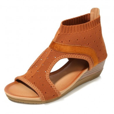 Bohemian Sandals Breathable Mesh Slip On Wedge Sandals
