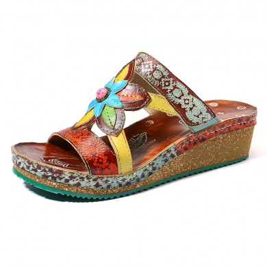 SOCOFY Genuine Leather Floral Adjustable Wedge Sandals