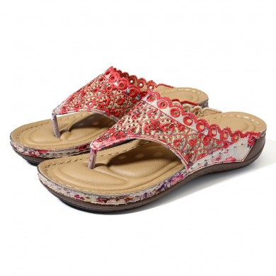 LOSTISY Bohemian Embroidery Hollow Out Clip Toe Sandals
