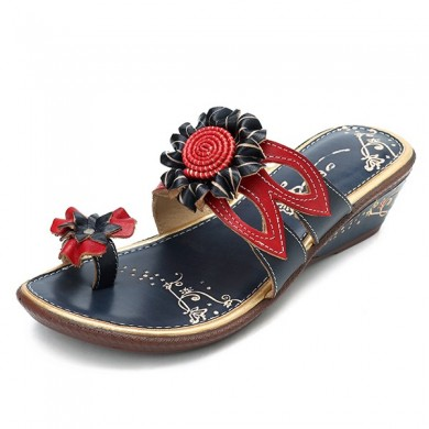 SOCOFY Retro Floral Genuine Leather Slip On Wedge Sandals