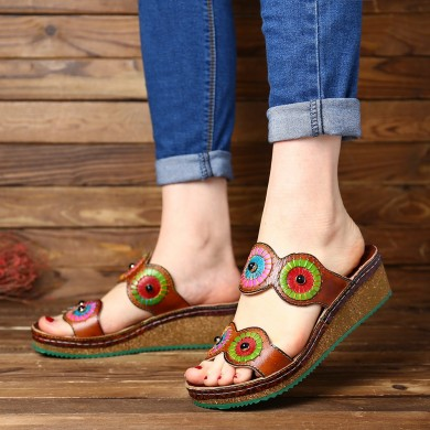SOCOFY  Colorful Circle Genuine Leather Wedge Sandals