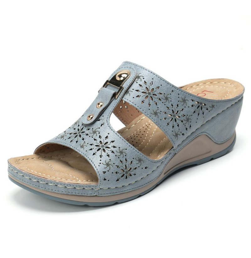 Lostisy Comfy Buckles Casual Slip On Peep Toe Sandals (Color: Blue, Size(US): 8)