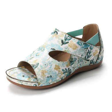 Lostisy Large Size Floral Retro Pattern Hook Loop Wedge Sand