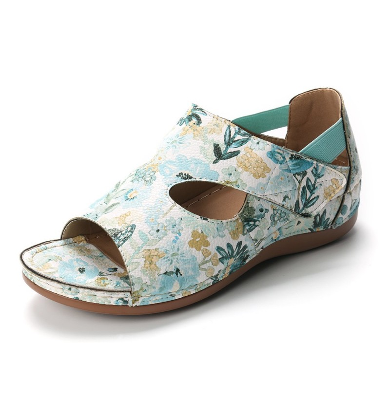 Lostisy Large Size Floral Retro Pattern Hook Loop Wedge Sand (Color: Green 2, Size(US): 5) фото