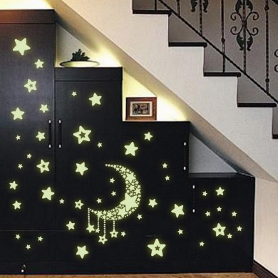 Luminous Moon Star Stickers Kids Child Light In The Dark Free Shipping PVC Stickers Decorative Best For Baby Gift Moon Stars Glo
