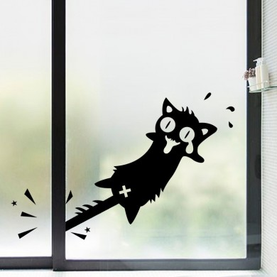 Honana Cartoon Clip to The Tail of A Cat Wall Sticker for Home Decor PVC Decals Doors Windows Car Stickers Black Cat Clip Tail P