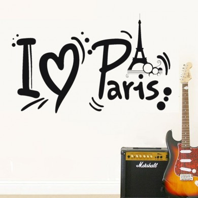 Honana I Love Paris Torre Eiffel Wall Sticker Decorazione della casa Adesivo nero PVC Decal Impermeabil