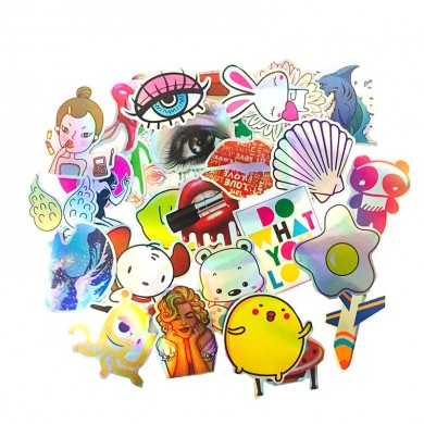 28pcs Cartoon Coloreful Riflessione FAI DA TE Laser Adesivi Per Valigia Skateboard Laptop Bagaglio Stic