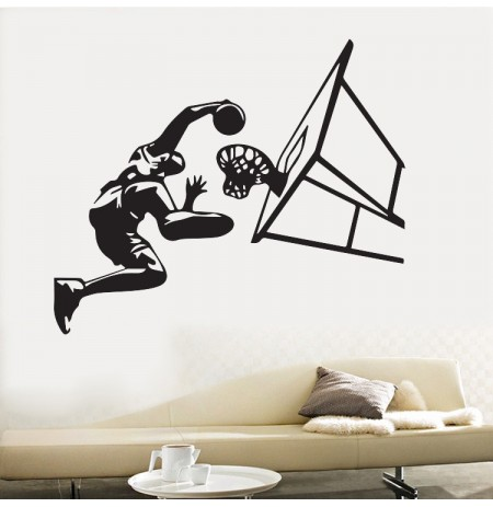 Honana Basketball Player Air Slam Dunk Adesivo da parete rimovibile per ragazzi Camera Sticker Vinyl De