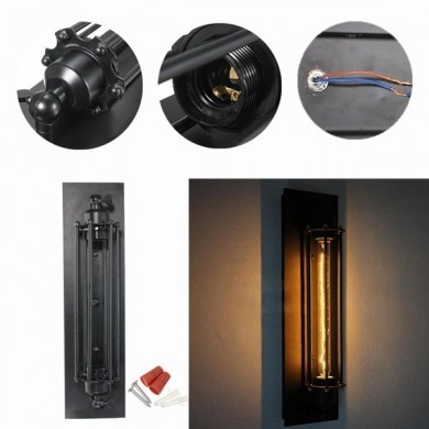 NEW Industrial Long Black Wall Plate Retro Wall Light Rustic Wall Sconce Plate