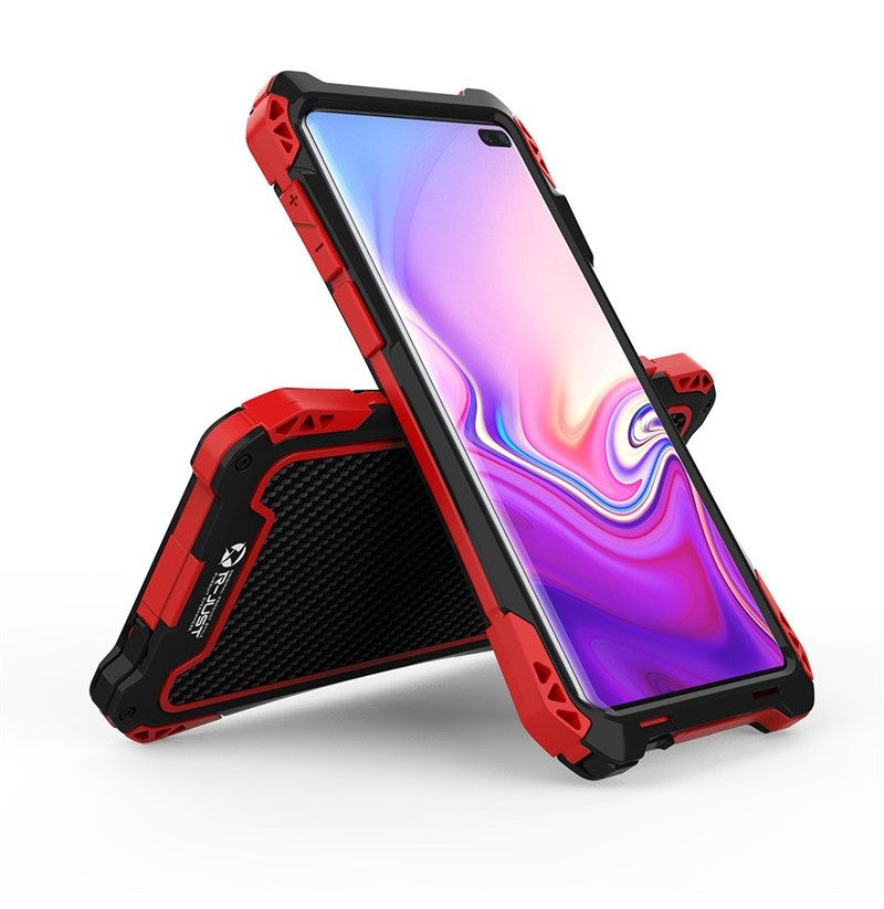 Aluminum Alloy Shockproof Snowproof Dirtproof Protective Case For Samsung Galaxy S10 Plus 6.4 Inch 2019 (Color: Gold + Red) фото