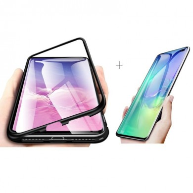 Bakeey Magnetic Adsorption Aluminum Alloy Tempered Glass Protective Case + 2 Packs Kisscase 10D Hydrogel Screen Protector For Sa