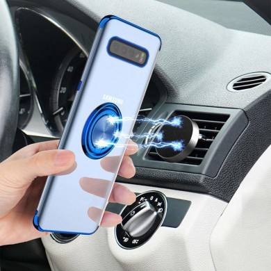 Bakeey Protective Case For Samsung Galaxy S10 Plus Plating Ring Grip Kickstand Car Magnetic Back Cover