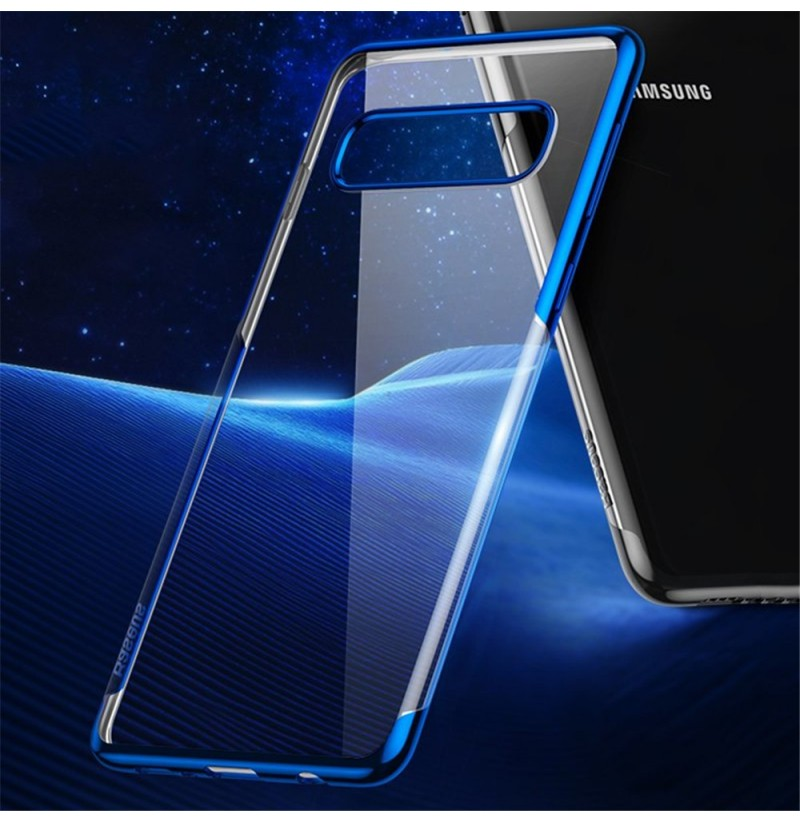 Baseus Plating Transparent Shockproof Soft TPU Back Cover Protective Case for Samsung Galaxy S10 Plus / S10+ (Color: Blue) фото