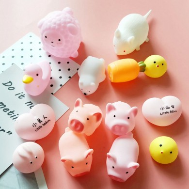 Novo Squishy Rosa Porco Dos Desenhos Animados Soft Bonito Animal Squeeze Som Espremer Chamado Lento Rising Decompression Toy