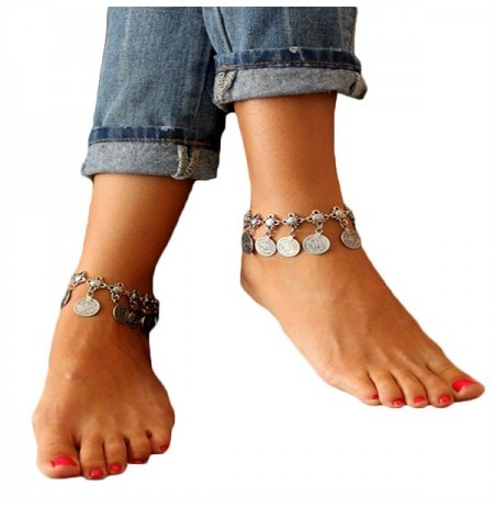 body jewelry product women hollow harness detail anklet square silver chain charm for ankle simple foot