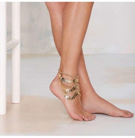 Punk Gold Multilayer Tassels Chain Anklet Beach Bracelet