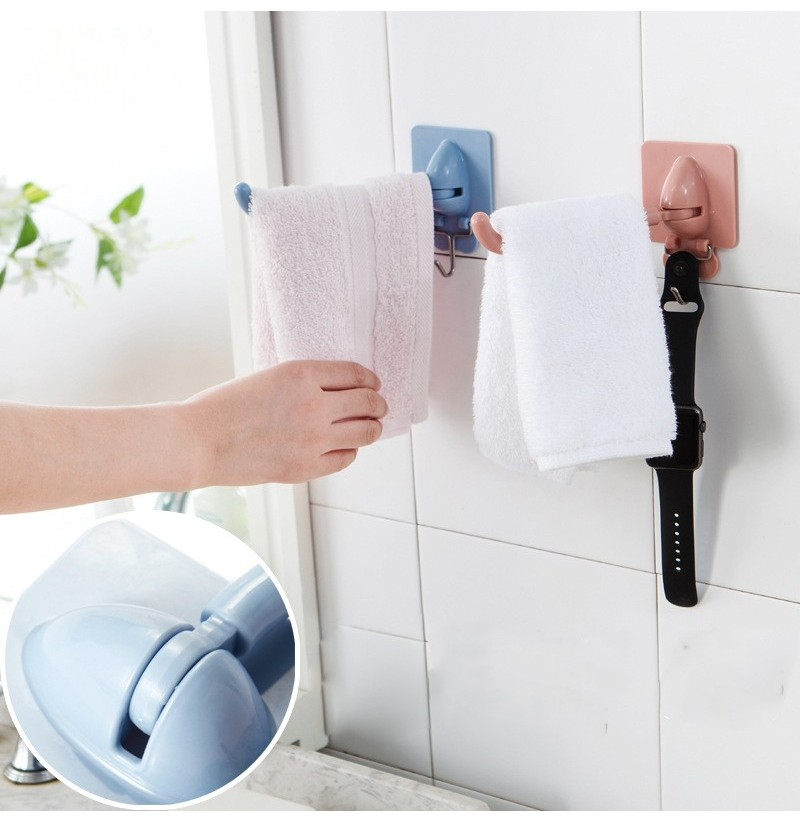 Non-trace Free Nail Hat Coat Clothes Towel Holder Kitchen Bath Wall Door Hanger Hooks (Color: Pink) фото