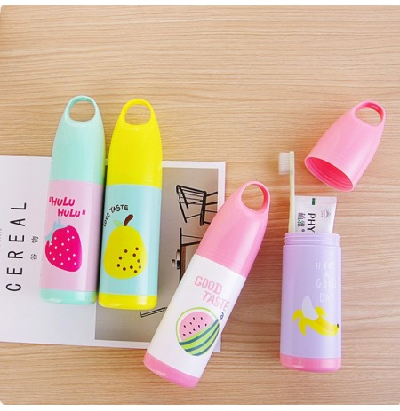 Honana Portable Cute Travel Case Toothpaste Box Cartoon Fruits Toothbrush Holder Toothbrush Storage Box