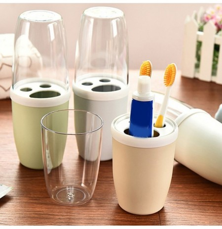 Honana Couple Transparent Cover Toothbrush Toothpaste Holder Organizer Travel Home Washing Storage Cup