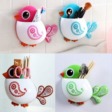 Honana Toothbrush Suction Cup Bird Pattern Holder Creative Exquisite Brush Holder Toothbrush Shelves 4 Color Bathroom Accessorie