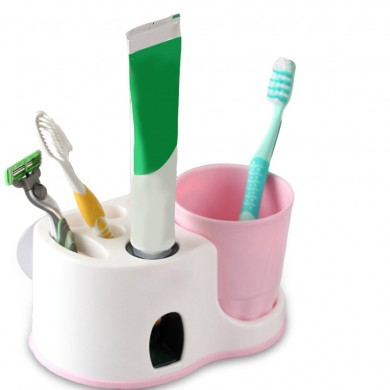 Honana Toothbrush Holder Automatic Squeeze Toothpaste Sucker Wash Suit Home Bath Set Bathroom Shelves Creative Toothbrush Holder