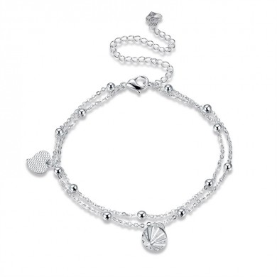 Heart and Rhinestone Pendant Double Layer Bell Foot Chain Silver Plated Anklet