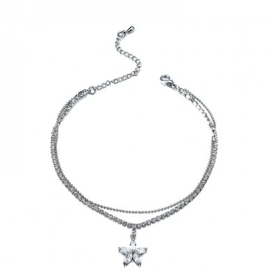 Flower Pendant Zircon Platinum Plated Anklet Double Layer Foot Cup Chain