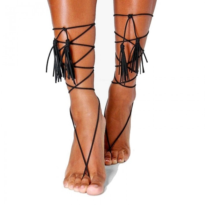 Simple Style Multilayer Twining Tassel Wool Black and White Anklet Barefoot Sandal