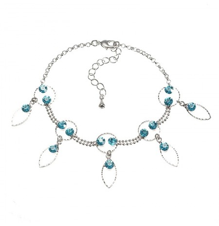 JASSY Fine Foot Jewelry Platinum Plated Lake Blue Rhinestone Anklet Jewelry for Women