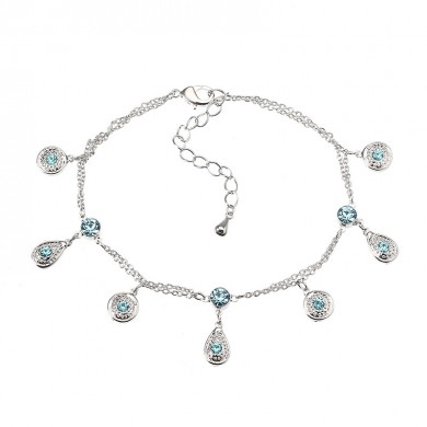 JASSY Fine Anklet Platinum Plated Lake Blue Rhinestone New Fashion Bracelet Jewelry for Women
