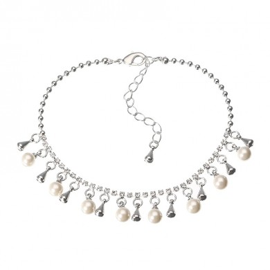 JASSY Platinum Plated Rhinestone Fine Anklet Elegant Artificial Pearl Clothing Accessories