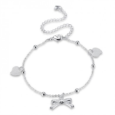 YUEYIN 925 Silver Plated Anklet Bracelet Sweet Heart Bowknot Pendant Sandal Foot Chain
