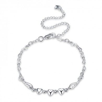 YUEYIN 925 Silver Plated Anklet Bracelet Sweet Heart Hollow Wings Best Love Gift Jewelry for Women