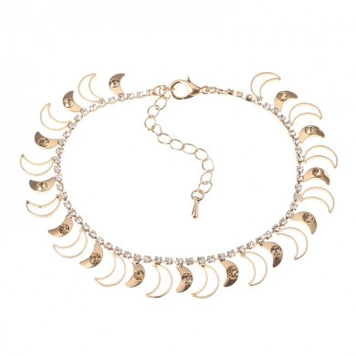 JASSY Luxury 18K Gold Plated Anklet Golden Rhinestone Fashion First Quarter Moon Foot Chain