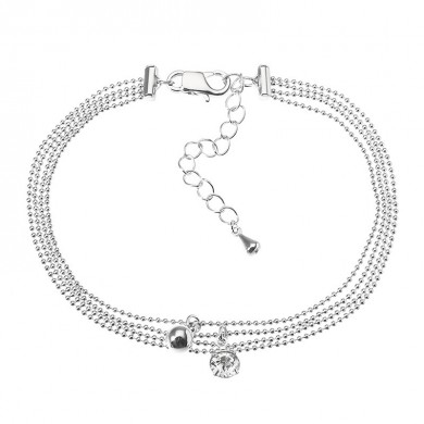 JASSY Platinum Plated Rhinestone Multilayer Simple Foot Chain Tobillera Joyería fina para Mujer
